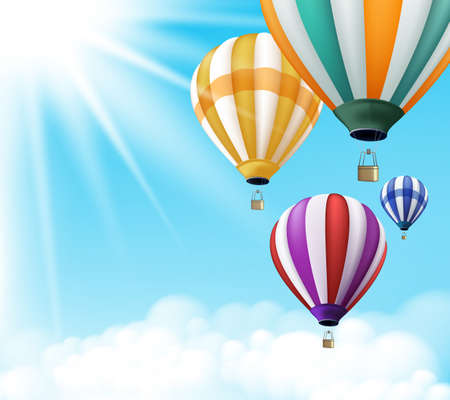 Realistic Colorful Hot Air Balloons Background Flying in the Blue Sky with Sun Rays and Clouds with Space for Writings. Vector Illustration