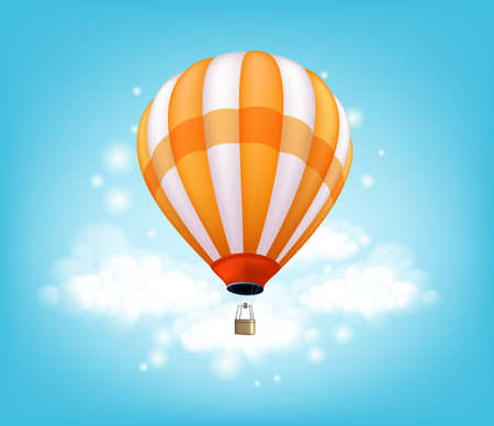 balloon vector: Realistic Colorful Hot Air Balloon Background Flying in the Blue Sky with Lights and Clouds with Space for Writings. Vector Illustration