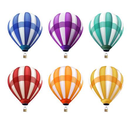 여름, 휴일 및 인사말에 대 한 요소 또는 장식으로 현실적인 다채로운 뜨거운 공기 풍선 비행의 설정. 벡터 일러스트 레이 션 일러스트