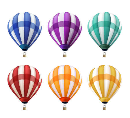 caliente: Conjunto de realista colorido del aire caliente globos volando como un Elementos o Decoración para el verano, fiestas y saludos. Ilustración vectorial