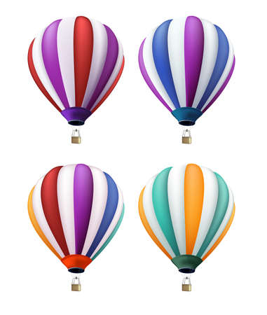 hot: Set of Realistic Colorful Hot Air Balloons Flying as an Elements or Decoration for Summer, Holidays and Greetings. Vector Illustration