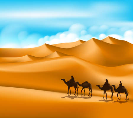 camels: Group of Arab People with Camels Caravan Riding in Realistic Wide Desert Sands in Middle East. Editable Vector Illustration