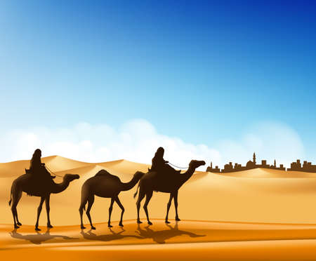 editable: Group of Arab People with Camels Caravan Riding in Realistic Wide Desert Sands in Middle East Going to a City. Editable Vector Illustration
