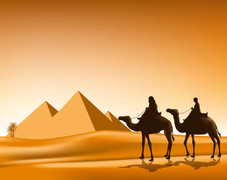 egyptian pyramids: Group of Arab People with Camels Caravan Riding in Realistic Wide Desert Sands in Great Pyramid of Giza in Egypt. Editable Vector Illustration