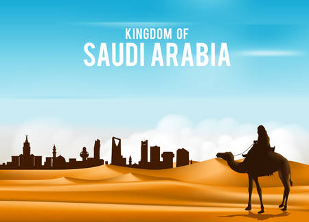 illustration journey: Arab Man Riding in Camel in Wide Desert Sands in Middle East Going to City in Kingdom of Saudi Arabia. Editable Vector Illustration Illustration