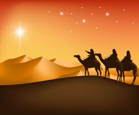 3 킹스는 스타가 새로운 태어난 예수님을보기 위해 베들레헴으로가는 가이드 사막에서 낙타와 승마. 편집 가능한 벡터 일러스트 일러스트
