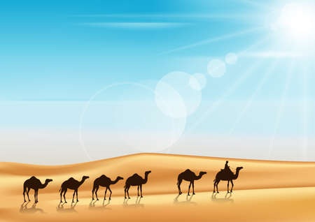 camels: Group of Camels Caravan Riding in Realistic Wide Desert Sands in Middle East with a Beautiful Sunlight in Horizon. Editable Vector Illustration