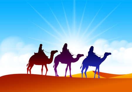 reyes magos: Grupo colorido de pueblo árabe con camellos Caravana Riding en Desert Sands Wide realistas en Oriente Medio. Ilustración vectorial editable