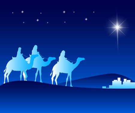 De Drie Koningen Rijden met Kamelen in de woestijn Begeleid met de Ster gaan naar Bethlehem te zien New Born Jezus. Bewerkbare vector illustratie