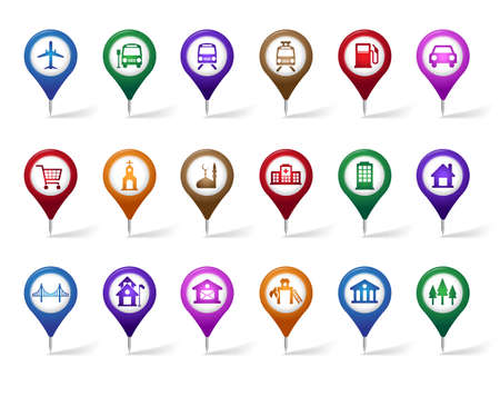 Colorful Set of Location, Places, Travel and Destination Pin Icons and Buttons for Navigation and Maps. Isolated Vector Illustration. Vector