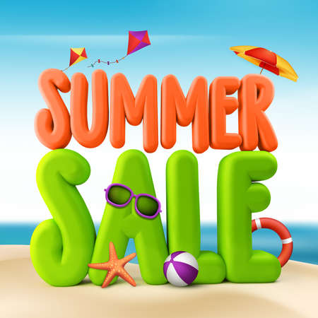3D Rendered Summer Sale Text Title for Promotion in Beach Sea Shore with Flying Kites, Colorful Umbrella, Sunglasses, Ball and Starfish Illustration Stock Photo