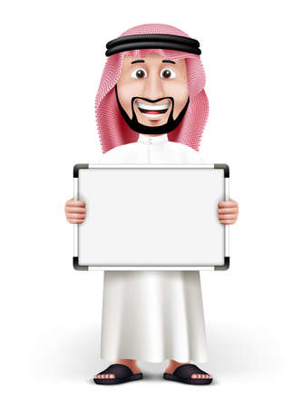 arabic: 3D Handsome Saudi Arab Man in Traditional Dress Stand with Blank White Board with Space for Text or Business Messages while Smiling and Talking. Editable Vector Illustration