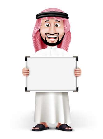 caras graciosas: Hombre �rabe 3D Hermoso Arabia en el vestido tradicional P�rese con tarjeta en blanco blanco con espacio para texto o mensajes comerciales mientras sonriendo y hablando. Ilustraci�n vectorial editable Vectores