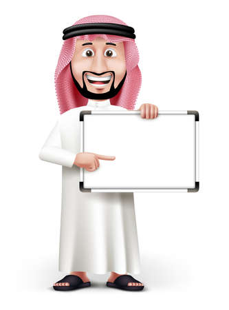 arabia: 3D Handsome Saudi Arab Man in Traditional Dress Stand Pointing Blank White Board with Space for Text or Business Messages while Smiling and Talking. Editable Vector Illustration