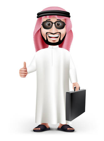 personas de pie: Hombre árabe 3D Hermoso Arabia en el vestido tradicional soporte Señalando tarjeta en blanco blanco con espacio para texto o mensajes comerciales mientras sonriendo y hablando. Ilustración vectorial editable