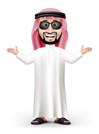 arabic: 3D Handsome Saudi Arab Man in Traditional Dress Stand Teaching while Smiling with Sunglasses in White Background. Editable Vector Illustration
