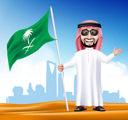 saudi arabia: 3D Handsome Saudi Arab Man in Traditional Dress With Shades Stand Holding National Flag of Saudi Arabia with Famous Buildings at the Back of Desert. Editable Vector Illustration