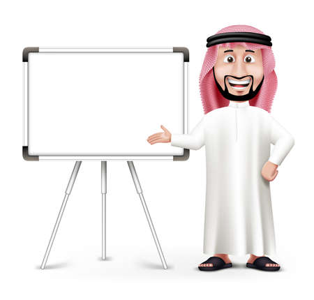 arabic: 3D Handsome Saudi Arab Man in Traditional Dress Stand Teaching while Smiling with Blank White Board with Space for Text or Business Messages. Editable Vector Illustration Illustration