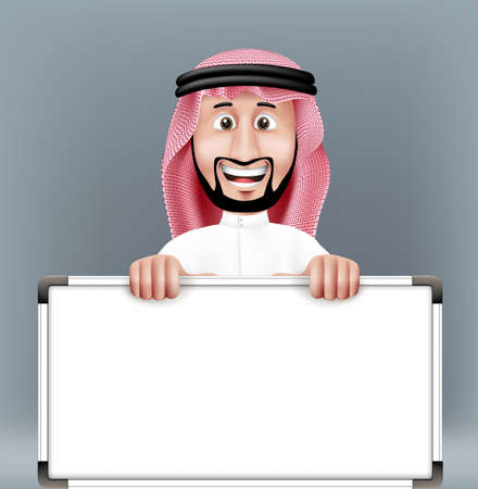 qatar: 3D Handsome Saudi Arab Man in Traditional Dress Stand Holding Big Blank White Board with Space for Text or Business Messages while Smiling and Talking. Editable Vector Illustration
