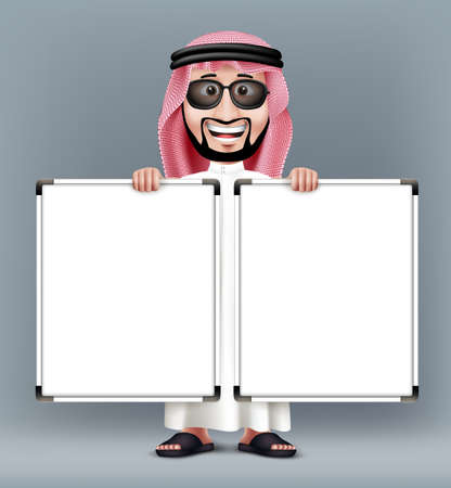 people standing: 3D Handsome Saudi Arab Man in Traditional Dress With Shades Stand Holding Two Blank White Board with Space for Text or Business Messages while Smiling and Talking. Editable Vector Illustration
