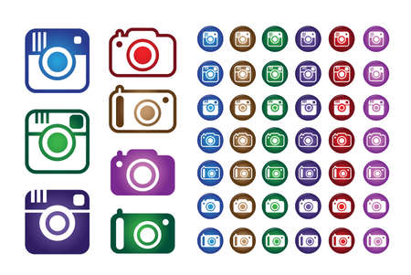 instagram: Set Collection of Colorful Hipster Trend Camera and Digital Camera Icons. Vector Illustration
