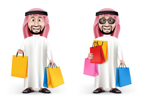 Realistic 3D Handsome Saudi Arab Man Character Wearing Traditional Clothes Holding Shopping Bags in WHite Background. Two Editable Vector Illustration
