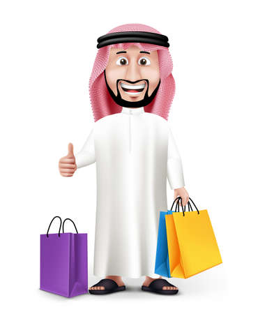 saudi: Realistic 3D Handsome Saudi Arab Man Character Wearing Traditional Clothes Holding Colorful Shopping Bags with Okay Hand Sign. Editable Vector Illustration