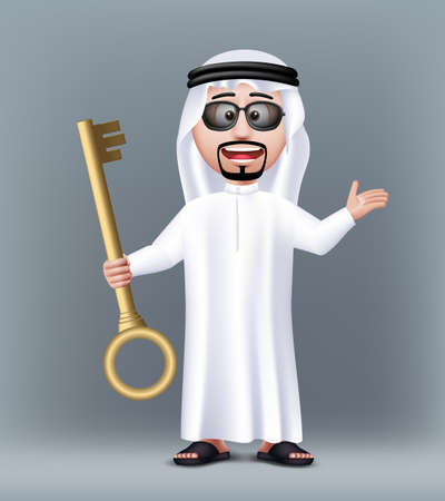 Realistic 3D Handsome Saudi Arab Man Character Wearing Traditional Clothes Holding Golden Key for House or Car with Sunglasses. Editable Vector Illustration