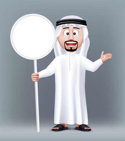 hombre arabe: Realista Hermoso Arabia Car�cter Hombre �rabe 3D que desgasta la ropa tradicional que sostiene la tarjeta en blanco Sign blanco con espacio de texto. Ilustraci�n vectorial editable