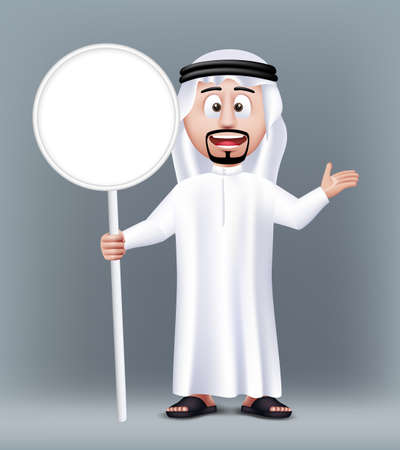 happy face: Realistic 3D Handsome Saudi Arab Man Character Wearing Traditional Clothes Holding Blank White Sign Board with Text Space. Editable Vector Illustration