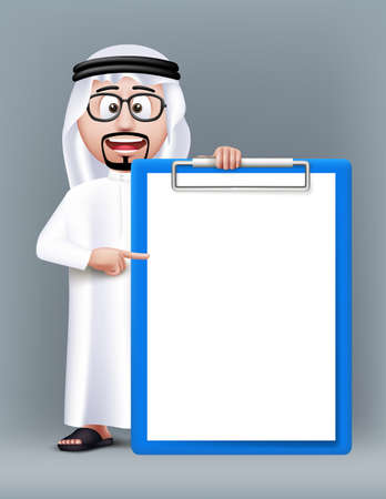 Realistic 3D Smart Saudi Arab Man Character Wearing Traditional Clothes with Eyeglasses Holding Blank and Empty Clipboard for Text Lists. Editable Vector Illustration Illustration