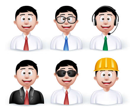filipino: Set of 3D Dimension Young Different Professional and Business Man Characters and Avatars in Long sleeve and Necktie Isolated in WHite Background. Editable Vector Illustration Illustration