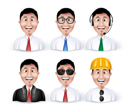 long sleeve: Set of 3D Dimension Smart Different Professional and Business Man Characters and Avatars in Long sleeve and Necktie Isolated in WHite Background. Editable Vector Illustration