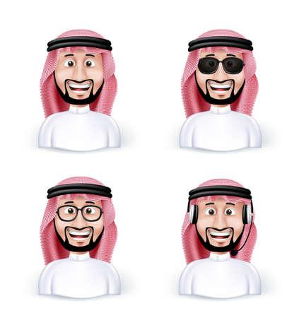 Conjunto de Arabia Hombre árabe 3D Dimensión en diferentes personajes y avatares profesionales y hombre de negocios en paños tradicionales o Thobe aislados en fondo blanco. Ilustración vectorial editable