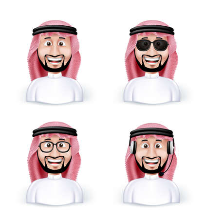 Set of 3D Dimension Saudi Arab Man in Different Professional and Business Man Characters and Avatars in traditional Cloths or Thobe Isolated in WHite Background. Editable Vector Illustration