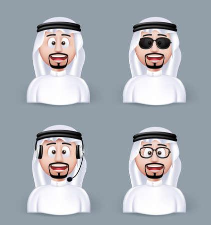 hombre arabe: Conjunto de Hombre �rabe Dimensi�n 3D en diferentes personajes y avatares profesionales y hombre de negocios en pa�os tradicionales o Thobe aislados en fondo blanco. Ilustraci�n vectorial editable