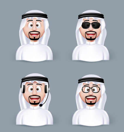 Set of 3D Dimension Arab Man in Different Professional and Business Man Characters and Avatars in traditional Cloths or Thobe Isolated in WHite Background. Editable Vector Illustration