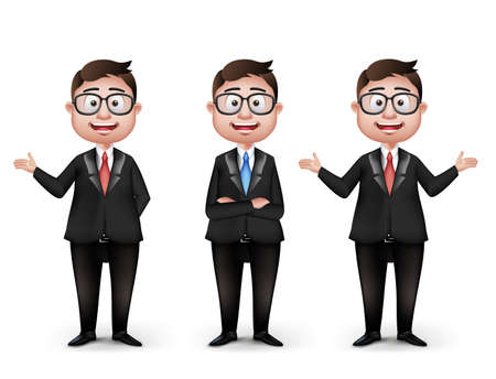 joyful businessman: Set of Realistic Smart Different Professional and Business Man Characters With Eyeglasses in Long Sleeve and Necktie Isolated in White Background. Editable Vector Illustration Illustration