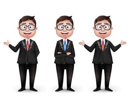 Set van realistische Smart Verschillende Professionele en Business Man Characters Met Oogglazen in lange mouwen en stropdas geïsoleerd in witte achtergrond. Bewerkbare vector illustratie