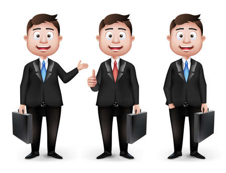 slacks: Set of Realistic Smart Different Professional and Business Man Characters in Long Sleeve and Necktie Holding Briefcase Isolated in White Background. Editable Vector Illustration