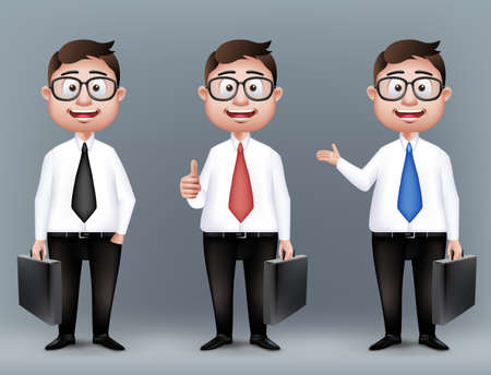 sleeve: Set of Realistic Smart Different Professional and Business Man Characters with Eyeglasses in Long Sleeve and Necktie Holding Briefcase Isolated in White Background. Editable Vector Illustration