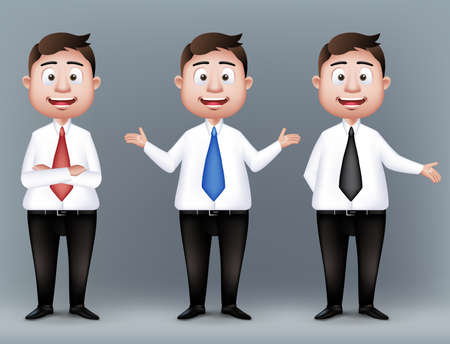 joyful businessman: Set of Realistic Smart Different Professional and Business Man Characters Presenting in Long Sleeve and Necktie Isolated in White Background. Editable Vector Illustration