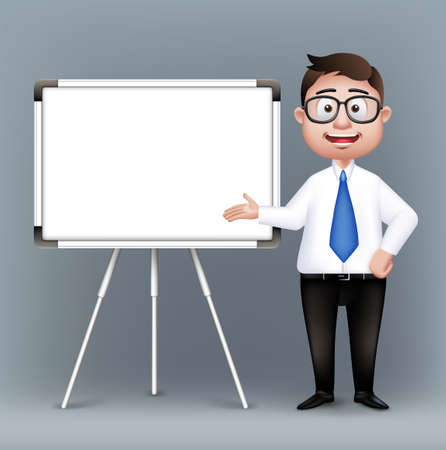 joyful businessman: Realistic Smart Professor or Business Man Characters With Eyeglasses Presenting in Empty White Board in Long Sleeve and Necktie Isolated in White Background. Editable Vector Illustration