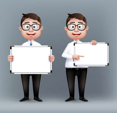 Set of Realistic Smart Professional or Business Man Characters With Eyeglasses Holding Empty White Board in Long Sleeve and Necktie Isolated in White Background. Editable Vector Illustration