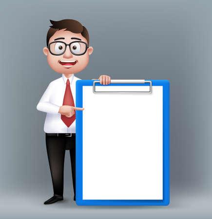 흰색 배경에 격리 된 긴 소매와 넥타이 빈 클립 보드를 들고 안경으로 현실적인 스마트 Professional 또는 비즈니스 사람 문자. 편집 가능한 벡터 일러스트