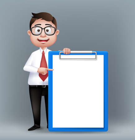 young business man: Realistic Smart Professional or Business Man Characters With Eyeglasses Holding Empty Clip Board in Long Sleeve and Necktie Isolated in White Background. Editable Vector Illustration