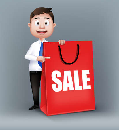 sleeve: Realistic Smart Salesman or Business Man Characters Holding Empty Red Sale Shopping Bag in Long Sleeve and Necktie Isolated in White Background. Editable Vector Illustration Illustration
