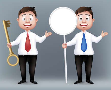 gold key: Set of Realistic Smart Professional or Business Man Characters Holding Empty Sign Board and Gold Key in Long Sleeve and Necktie Isolated in White Background. Editable Vector Illustration