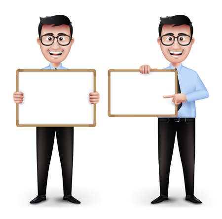 long sleeve: Set of Realistic Smart Professor or Business Man Characters With Eyeglasses Holding Empty White Board in Long Sleeve and Necktie Isolated in White Background. Editable Vector Illustration