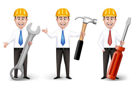 long sleeve: Set of Realistic Engineers or Workers Characters With Yellow Safety Helmet Holding Equipments in Long Sleeve and Necktie Isolated in White Background. Editable Vector Illustration Illustration